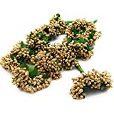 Satyam Kraft Artificial Pollen Flowers for Tiara Making and Jewelry Making Pack of 144 Pollen (12 Bunch of 12 Pollen Each) (Golden)