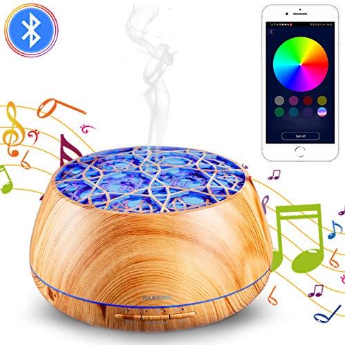 YOUNGDO Aroma Diffuser 400ml, Bluetooth Lautsprecher, APP kabellose Fernbedienung, Nachtlicht, Aromatherapie Maschine, Luftbefeuchter, Raumbefeuchter für Schlafzimmer, Büro, Yoga, Spa - Holzmaserung 400 Bluetooth
