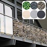 Balkon Sichtschutz PVC | 90x600 cm | Extra Blickdicht | Balkonverkleidung aus wetterfestem Kunststoff mit UV-Schutz | Deko...