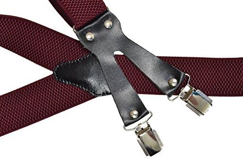 Bretelles de Haute Qualité avec 6 Clips, 3.5cm Bourgogne Rouge