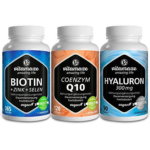 Beauty-Paket VEGAN mit Vitamaze Biotin hochdosiert + Zink + Selen 365 Tabletten für Haut, Haare, Nägel & Hyaluronsäure hochdosiert 300 mg 90 Kapseln & Coenzym Q10 hochdosiert 200 mg 120 Kapseln