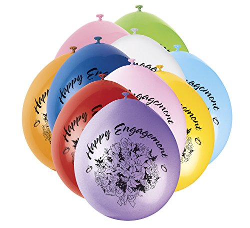 9' Látex Surtido Happy Engagement Globos, Pack de 10