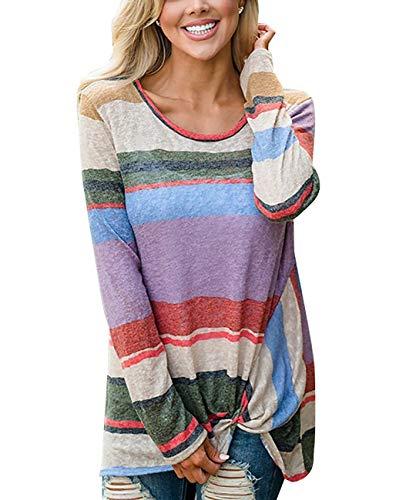Langarmshirt Damen Sweatshirt Herbst Bunt Gestreift Oberteile Casual Perfect Pullover Bluse Langarm Rundhals Loose Shirt T-Shirts Style (Color : Rosa, Size : L)