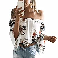 Ai.Moichien Vogue Off Shoulder Pleated Macrame Printed Long Sleeve Midriff Party Date Tops Shirt