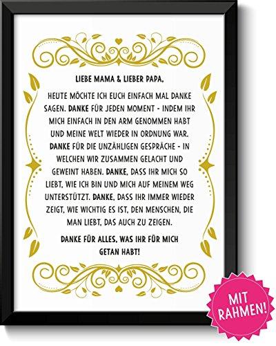 DANKE FÜR ALLES - Bild Danksagung für Eltern mit schwarzen Rahmen – Geschenk Geschenkidee Geburtstag Hochzeitstag Muttertag Vatertag