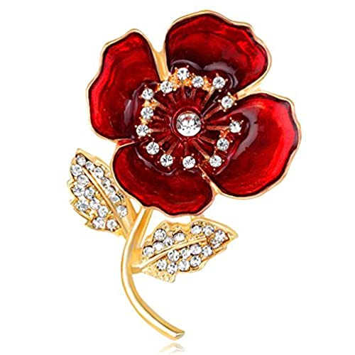 FENGJI Red and Gold Poppy Badges Flower Lapel Black Ribbon Brooch Pin LEST WE FORGET 0ti0A3