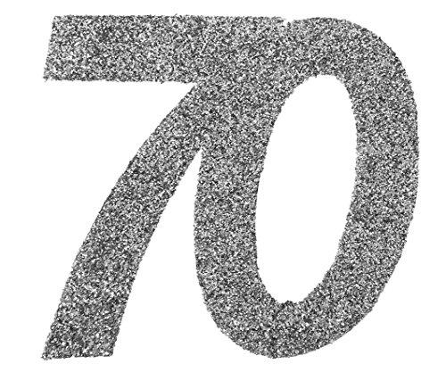 Preisvergleich Produktbild XXL Konfetti Tischdeko Zahl 70 Geburtstag Silber Glitzer 6 Stück Party-Deko Palandi®