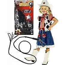 Filles Cowgirl Déguisement Cowboy avec pistolet et fouet âge 4–12(4–6ans)