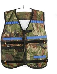 OULII 1pcs Tactical Vest Adjustable for Nerf N-Strike Elite Battle Game gifts for men (Camouflage) + 100pcs N-Strike Elite Dart Refill Pack, 7.3cm/150g Blasters Kid Toy Gun Play Game (10 color)