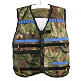 OULII 1pcs Tactical Vest Adjustable for Nerf N-Strike Elite Battle Game gifts for men (Camouflage) + 100pcs N-Strike Elite Dart Refill Pack, 7.3cm/150g Blasters Kid Toy Gun Play Game (10 color)