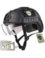 Casco militar para airsoft o paintball, diseño de estilo SWAT, color negro con protección para los ojos