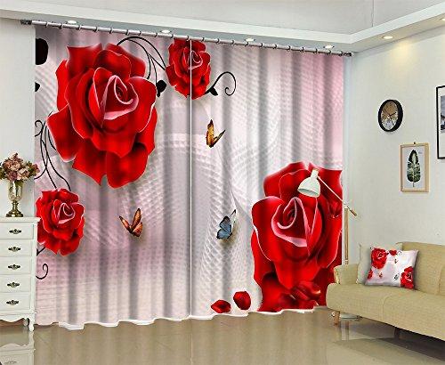Preisvergleich Produktbild 3D Verdunkelungs Fenster Vorhänge, Rote Blumen mit Schmetterlingen ,2er-Set Verdunkelungsgardine Für Wohnzimmer Schlafzimmer Küche,(0.75mx1.66mx2pcs)