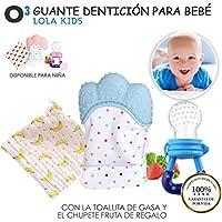O³ Guante Dentición Bebé Lola Kids + Gasa + Chupete Fruta -Versión Rosa/Azul | Guante Mordedor Bebé