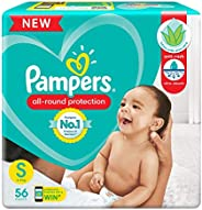 Pampers All round Protection Pants, Small size baby diapers (SM), 56 Count, Anti Rash diapers, Lotion with Alo
