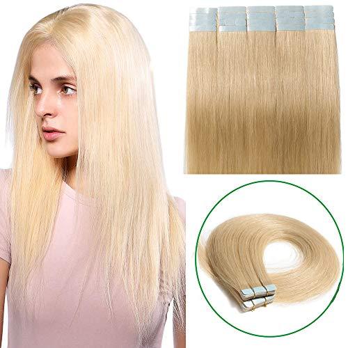 Extension adesive capelli veri biadesivo naturali biondi lisci umani 20 fasce 50g tape extensions 100% remy human hair 45cm (#613 biondo chiarissimo)