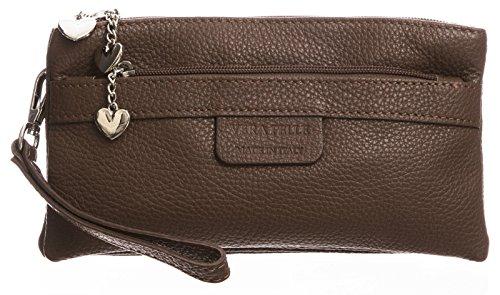 BHBS Damen Clutch Tasche aus echtem itelienischem Leder mit mehreren Tascheh Herz Charm 22 x 11 x 5 cm (B x H x T) Dunkle Tan