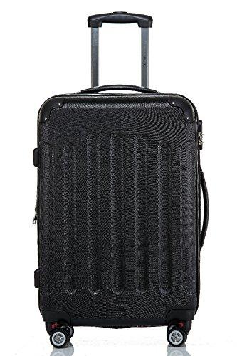 Reisekoffer / Trolley Gr. L ABS Hartschale 360 Grad Zwillingsdoppelrollen mit TSA Schloß von Shaik-Saphirschwarz