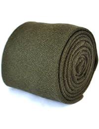 Frederick Thomas plain khaki army dark green 100% wool tie