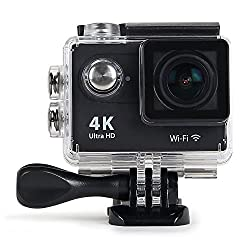 ENRG Epicam (Black) - 4K resolution 12MP 170 Degree wide angle lens 30M Waterproof Rechargeable Sports Action Camera with 2.0 screen, built-In WiFi with 32Gb expandable memory, (16GB SD card included),Controllable with Ez-Icam mobile App (Available free on iOS App store & Googleplay) Multiple mounts for Bike / Bicycle, helmet, belt, Car dashboard, Selfie stick mounts included with Complete Travel Bag - 1 Year Warranty