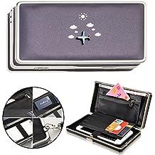 Vandot Moda Mujer Niña Avión Gran Capacidad Cartera/Monedero/Billetera/Bolsa con Cordones de Mano Pulsera Muñeca Bolsillo Cartera de Embrague de Teléfono Móvil para iPhone X /8/8 Plus/7/7 Plus/6S/6/6 Plus/SE/5S/5, Samsung Galaxy Note 8/S8 Plus/S8/S6/S7 Edge/A5/A7/J5/J7 Pro 2017, Huawei Mate 10/9/P8/P9/P10 Lite, Sony Xperia XZ / XA1 Ultra, LG K10/K8 2017, Xiaomi mi6 /mi 5s, BQ Aquaris ZTE Wiko HTC OnePlus etc, 3D Creativo Aeroplano en Azul Profundo