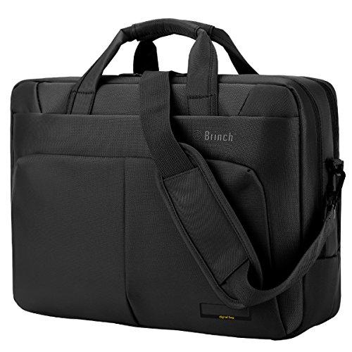 Laptop Tasche BRINCH 15,6 Zoll Nylon Multi-Fach Laptop Schultertasche Messenger Bag geräumig Aktentasche Umhängetasche Businesstasche Arbeitstasche für 15 - 15,6 Zoll Laptop /Notebook /Macbook,Schwarz