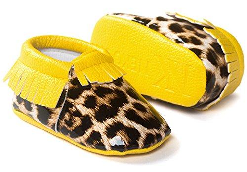 HAPPY CHERRY Chaussures Bébé Fille Garçon Princesse en Cuir Artificiel Souple Moccasins Frange Chaussures Premiers pas Or Doré Longueur 12CM Taille 20 pour 6-12mois Meilleur Cadeau Jaune
