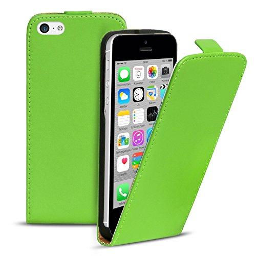 Premium Schutzhülle für - iPhone 5C - Hülle Flip Case Wallet Tasche aus PU Leder Farbe: Grün Grün