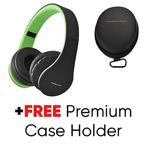 Bluetooth Kopfhörer, PowerLocus Over Ear Wireless Bluetooth Kopfhörer Faltbar Kabellose Headset mit Mikrofon Freiscprechfunktion für iPhone, Android, PC (Schwarz/Grün) (Bluetooth-kopfhörer Grün)