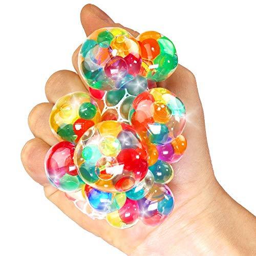 German Trendseller® - 12 x Ultra Squishy - Regenbogen Quetschball ┃ NEU ┃ Marble Glibber Ball ┃ Mitgebsel ┃ Kindergeburtstag ┃ Anti Stress - Bubble Ball┃ 12 Stück