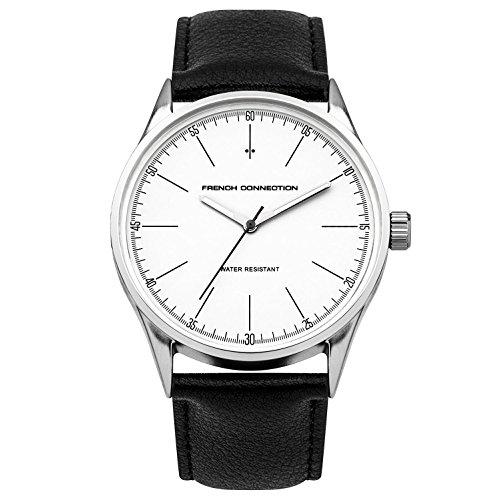 French Connection para hombre correa de cuero negro reloj
