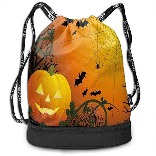 ncnhdnh Bundle Backpack Spider Web Halloween Pumpkins Gym Large Capacity Shoulder Drawstring Bags