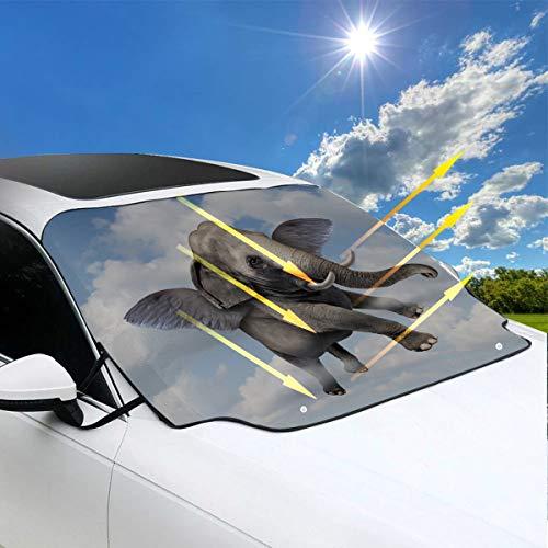 Cubierta del parabrisas Coche Un lindo bebé elefante Coche flotante Parabrisas Sombrilla 57.9x46.5 Pulgadas Œˆ147cmx118cmïŒ ‰ para la mayoría de los vehículos Proteja el parabrisas y el limpiaparabri