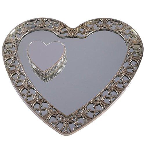 Silber Spiegelglas Verlobungstablet mit Herz Ring Platz ca. 25 cm