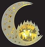 Mond aus Holz / LED beleuchtet / Hologramm-Licht-Effekt / hängend / kabellos / Holzmond
