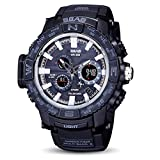 ODJOY-Fan Herren Uhr Digital Digitales Quarzwerk mit Silikon Armband S-8006-1 (Schwarz,1 PC)