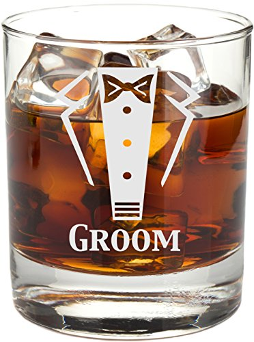 Gravur Tuxedo 11 Oz Hochzeit Party Rocks Glas - Will You Be My? Whiskey Glas Wedding (Hochzeit) Groom farblos
