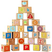 Lewo Wooden ABC Blocks Building Games Extra-Large 26 PCS Alphabet Letters Block Set Montessori Educational Toys for Kids Toddlers