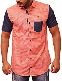 PP Shirts Men Orange Color Polka Printed Shirt
