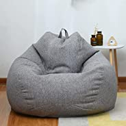 Large Small Lazy Sofas Cover Chairs Without Filler Linen Cloth Lounger Seat Bean Bag Pouf Puff Couch Tatami Li