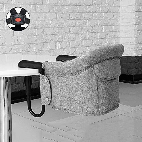 LIGUOPIN Tischsitz Faltbar Babysitz Baby Hochstuhl Sitzerhöhung für zu Hause und Unterwegs mit Transporttasche ideal als Hochstuhl für unterwegs für Babys and KleinkinderGray (Portable Hochstuhl Sitzerhöhung)