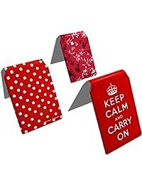 Stray Decor (Red) 3x Étui à Cartes / Porte-Cartes pour Titres de Transport, Passe d'autobus, Cartes de Crédit, Navigo Pass, Passe Navigo et Moneo COMBO
