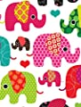 Kids' Rug - Elephant Design Multicoloured Creme Grey Pink - low-cost UK light shop.