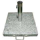 Nexos Schirmständer Sonnenschirmständer Granit eckig 45x45cm Steindicke 5cm ca. 40kg Edelstahlrohr...