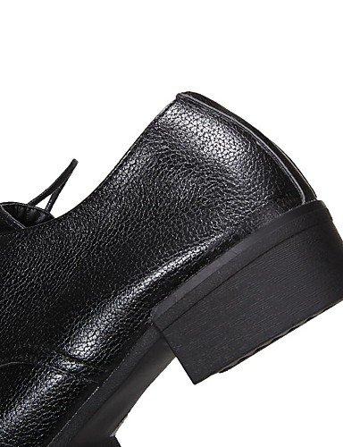 WSS 2016 Chaussures Femme-Bureau & Travail / Habillé / Décontracté-Noir / Blanc / Argent-Gros Talon-Talons / A Plateau / Confort / Bout Arrondi- silver-us6 / eu36 / uk4 / cn36