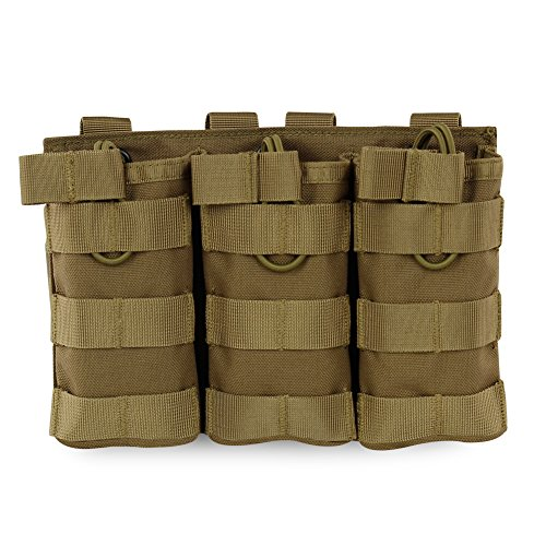 Hotour Airsoft Molle Vest Bag Bolsa Tactical Open Top mag Pouch Triple/Doble/Single revistero para Ar M4 M16 Hk416 revistas, TAN3