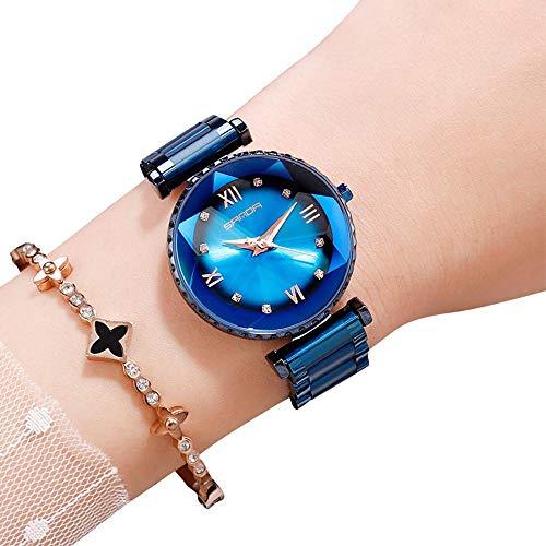 OOOUSE Damen-Armbanduhr, Quarzuhr, wasserdicht, mit magnetischem Schnallenband, luxuriös, legere Kristall-Quarzuhr für Studenten mit Edelstahl-Netzband, blau -