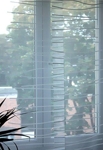 """IKEA Schiebegardine """"KAJSA RAND"""" transparenter, lichtdurchlässiger Flächenvorhang in 60 x 300 cm leicht kürzbar - in WEISS mit feinem Wellenmuster"""