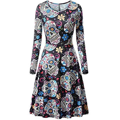 (Kanpola Damen Kleider Frauen Lose Langärmelig A-Linie Knielanges Muster Druck Minikleid Herbst Casual Cocktail Party Kleid Cocktailkleid Halloween)