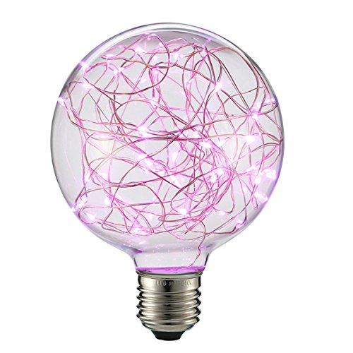G95 Vintage Edison Glühbirne,KINGCOO E27 180LM Antike LED Leuchtmittel Birne Kupferdraht Globus Dekorative String Lichterkette Lampe für Weihnachten Home Party Hochzeit Bars (Rosa)