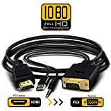 1080P Full HD HDMI to VGA Converter Adapter Cable with 3.5mm Stereo Audio Output One-way Signal Conversion from HDMI (PC, Laptop, Apple TV, Xbox, PS4) to VGA (Monitor, Projector, TV), 1.8m/6ft